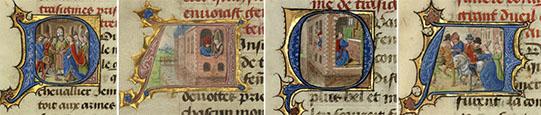 Capitular P: As bodas de Gillion e sua primeira esposa, Marie; Capitular A: Gillion e Marie juntos numa janela; Capitular Q: Gillion ajoelhado perante o altar; Capitular A: Gillion a despedir-se de sua esposa In Romance de Gillion dede Trazegnies, após 1464, Lieven van Lathem. Têmpera, folha de ouro e tinta sobre pergaminho, 14 9/16 x 10 1/16 polegadas. Museu J. Paul Getty, Ms. 111, fols. 10v, 11v, 13, 17