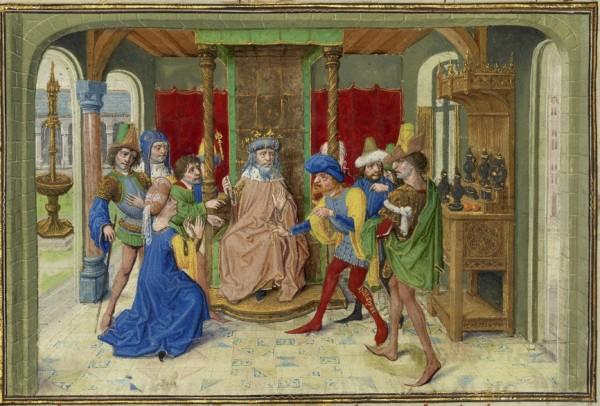 Gillion e Haldin competem pela atenção do sultão com Gratienne de joelhos (pormenor) In Idem, Ms. 111, fol. 150v
