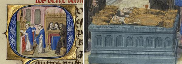 Initial Q: celebração da missa no convento de Binche e o autor ouve a história de Gillion de Trazegnies (pormenor) In idem, Ms. 111, fol. 200v