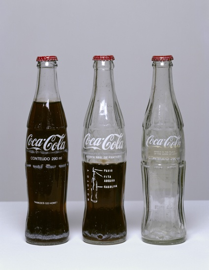 Cildo Miereles, Insertions into Ideological Circuits: Coca-Cola Project 1970. © Cildo Meireles. Image courtesy Tate